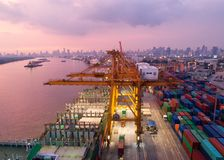 Container,container ship in import export and business logistic,. By crane,Trade Port , Shipping,cargo to harbor.Aerial view,Water transport,International,Shell Royalty Free Stock Images