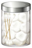 A container with cotton balls and cotton buds Royalty Free Stock Image