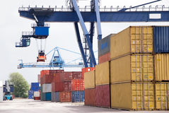Container crane. Cargo container with crane and harbor Stock Image
