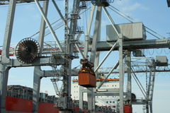 Container Crane 3. Container crane unloading a ship on a major port Stock Photography