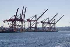 Container Cranes. Seaport Container crane loading operation royalty free stock photo
