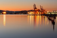 Container Cranes, Burrard Inlet Dawn, Vancouver Stock Images
