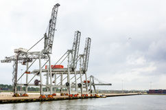 Container Cranes and Cloudy Sky. Cranes on a Empty Pier in the Port of Rotterdam on a cloudy day Royalty Free Stock Images