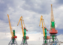 Container cranes in Feodosiya, Crimea, Ukraine Royalty Free Stock Photo