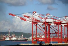 Container Cranes and Industrial Royalty Free Stock Photography