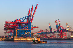 Container cranes in the port of Hamburg, Germany Stock Photo