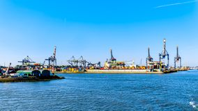 Container cranes on the quays of the Waalhaven in Rotterdam, Holland royalty free stock photos
