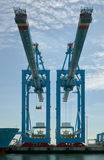 Container cranes Rotterdam harbour Royalty Free Stock Photos