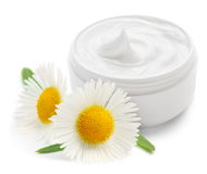 Container with cream & camomiles Royalty Free Stock Photography
