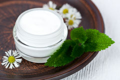 Container with cream urtica and chamomiles Royalty Free Stock Photography