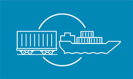 Container delivery by rail and water transport on barge icon. Shipping delivery transportation logistics. Container delivery by rail and water transport on Stock Photography