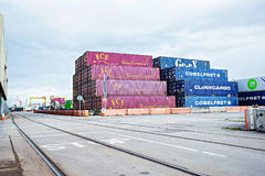 Container depot in Dublin port in Alexandra Quay Container Terminal, Dublin Port, 16 August 2017 Royalty Free Stock Photos