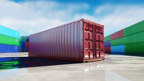 Container depot, wharehouse, seaport. Aeril view. Cargo containers. Logistic and business concept. 3d rendering. Container depot, wharehouse, seaport. Aeril Stock Photo