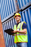 Container depot worker Stock Image