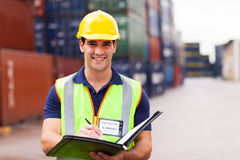 Container depot worker Stock Photo