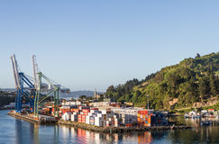 Container Dock at Port Chambers. Otago Harbour,  Dunedin, New Zealand Stock Image