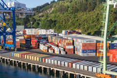 Container Dock at Port Chalmers. Container Dock at Port Chambers, Otago Harbour,  Dunedin, New Zealand Royalty Free Stock Images