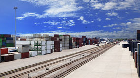 Container dock and rail ways logistic use for land transport,imp. Ort export freight ,shipping cargo business Stock Photos