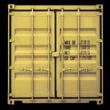 Container door. Perspective front view of yellow container doors Royalty Free Stock Photo