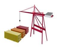 Container drei, der mit einem Kran ist Stockbild