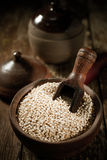 Container of dried quinoa seeds Stock Photography