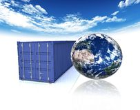 Container and earth Royalty Free Stock Images