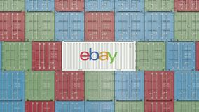Container with eBay corporate logo. Editorial 3D rendering. Container with company logo. Editorial rendering stock illustration