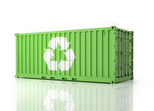 Container Eco. Perspective view of a green Container. Royalty Free Stock Photography