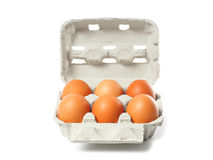 Container with eggs on white Royalty Free Stock Photography