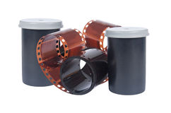 Container and Film for analog photos. Collage Royalty Free Stock Photo