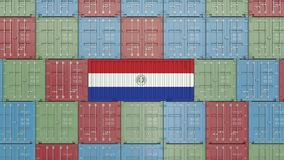 Container with flag of Paraguay. Paraguayan goods related conceptual 3D rendering. Cargo container with flag. goods related conceptual 3D vector illustration