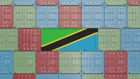 Container with flag of Tanzania. Tanzanian goods related conceptual 3D rendering. Cargo container with flag. goods related conceptual 3D vector illustration