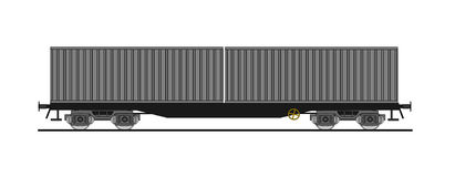 Container flat car  Royalty Free Stock Image