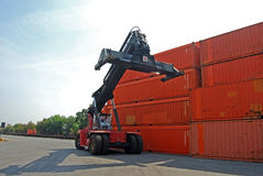 Container and forklift Royalty Free Stock Photography