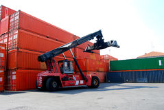 Container and forklift stock images