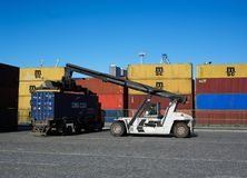 Container forklift operating on docks. Matosinhos harbor moved last year six undred thousand containers and workforce and material are important on the Royalty Free Stock Image