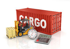Container with forklift stacker loader holding cardboard boxes a Stock Photography
