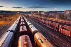 Container Freight Train in Station, Cargo railway transportation industry stock image