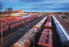 Container Freight Train in Station, Cargo railway transportation industry stock images