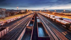 Container Freight Train in Station, Cargo railway transportation industry stock photos