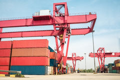 Container freight yard Royalty Free Stock Images