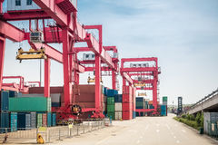 Container freight yard Stock Images
