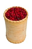 Container with frozen cowberry. Birchbark container with frozen cowberry Royalty Free Stock Image