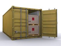 Container. 20 ft container on white background Royalty Free Stock Photography