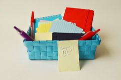 Container full of writing utilities Royalty Free Stock Photos