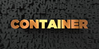 Container - Gold text on black background - 3D rendered royalty free stock picture Royalty Free Stock Images