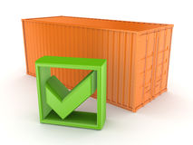 Container and green tick mark. Royalty Free Stock Image