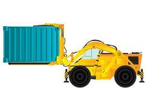 Container handler, forklift. Large build forklift holding a container, isolated object on white background Royalty Free Stock Photos