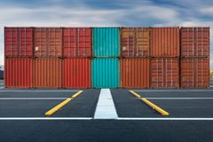 Container handling and storage in shipyard, Business transportat Royalty Free Stock Images