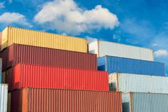 Container handling and storage in shipyard, Business transportat Stock Photos